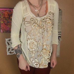 MEADOW RUE / Off white + Gold brocade Lace Blouse